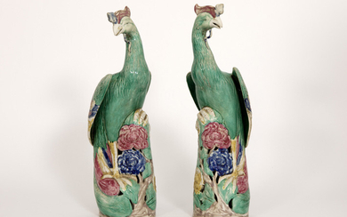 Pair of antique Chinese sculptures from the Qing...