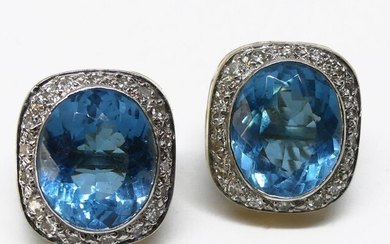 Pair of ear CLIPS in 585 mil. gold set with two cushion-cut blue gemstones in a diamond setting. Gross weight 12.5 g