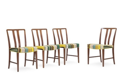 Peder Pedersen: Set of four mahogany dining chairs, back with vertical slats. Seat upholstered with...