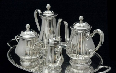 RAVINET D'ENFER FRENCH STERLING SILVER TEA SET WITH