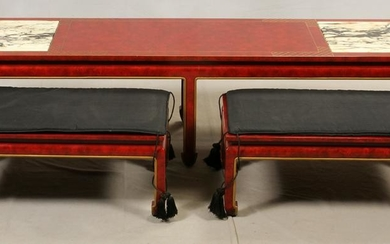 RED LACQUER LONG COFFEE TABLE & STOOLS