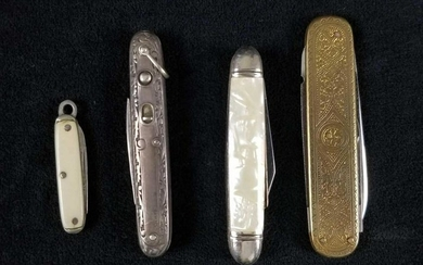 Rare 4 Piece Lot of Early 1900s Vintage Pocketknives