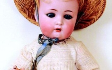 Rare German made character baby, poured bisque head...