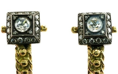 Rose cut Diamonds Earrings 18K Yellow Gold Sterling