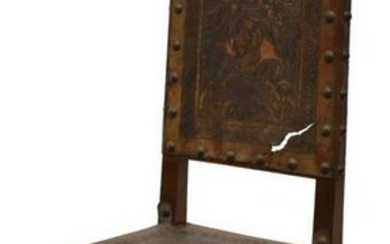 SPANISH BAROQUE STYLE WALNUT & LEATHER CHAIR