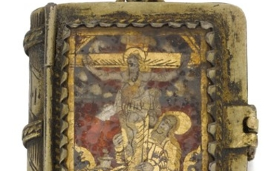 SPANISH OR ITALIAN, 17TH/ EARLY 18TH CENTURY   Miniature Prayer Book pendant with a Saint and the Crucifixion, the interior with two female saints