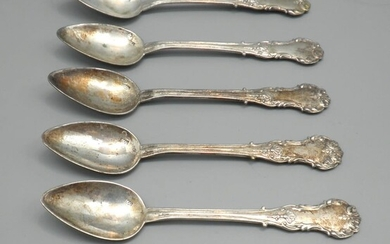 Set of 6 Antique 800 Silver Teaspoons