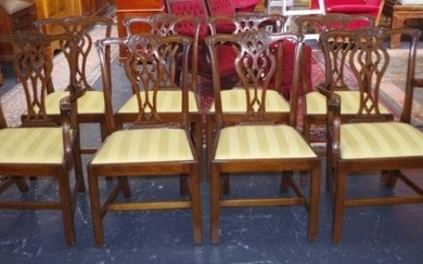 Set of 8 Georgian style dining chairs including 2 carver arm...