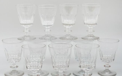 Set of Twelve French Faceted Wine Glasses