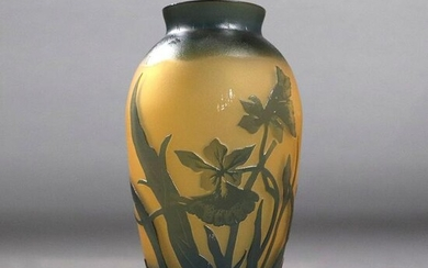 Signed GALLE Cut Cameo Art Glass Vase Water Lilies