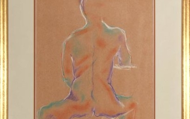 Signed Gold Contemporary Nude Figure Pastel