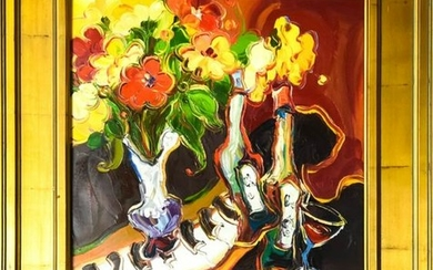 Signed Impressionist Style Still Life Oil Painting