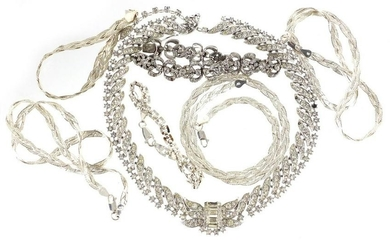 Silver and white metal jewellery comprising four