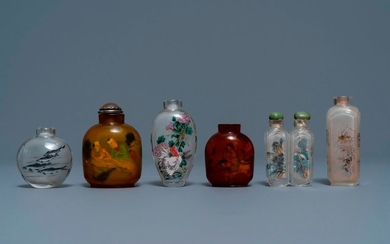 Six Chinese reverse painted glass snuff bottles, 19/20th...