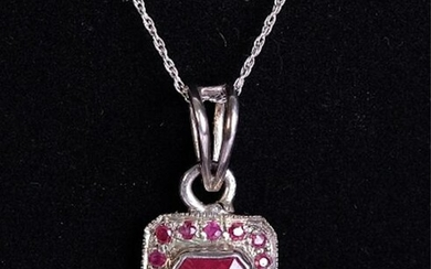 Sterling Silver & Ruby Pendant Necklace