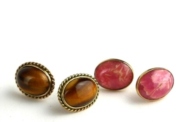 TWO PAIRS OF 9CT GOLD EARRINGS SET WITH CABOUCHON HARDSTONE.