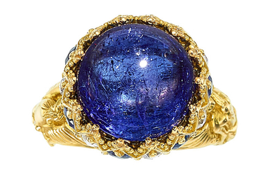 Tanzanite, Diamond, Sapphire, Tsavorite Garnet, Gold Ring The ring...
