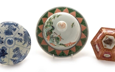 Three Chinese porcelain vase covers.