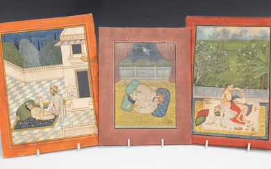 Three Indian erotic watercolour and gouache paintings on paper, late 19th/early 20th century, each d