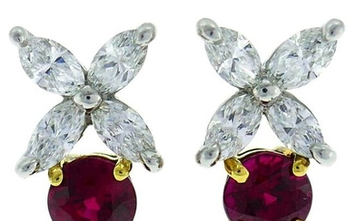 Tiffany & Co. Ruby Diamond Stud Earrings in Platinum