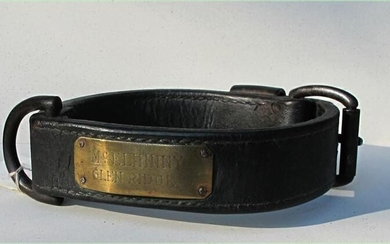 Two 19thc leather Dog Collars along with cast iron Dog bone shape door stop GC3A