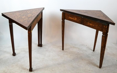 Two Marquetry Inlaid Envelope Tables