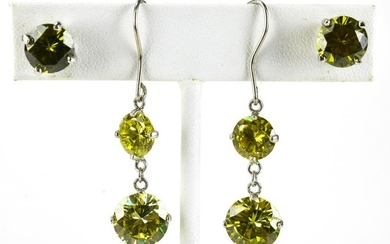 Two Pairs Sterling Silver Peridot Crystal Earrings