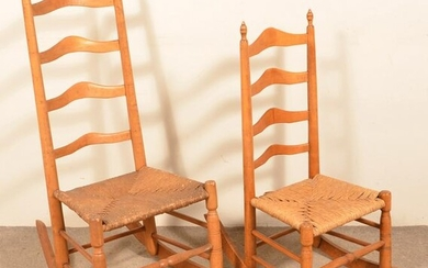 Two Rush Seat Ladder-Back Rocking Chairs.