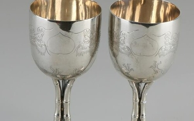 Two special Chinese silver chalices, 800/000, chalices