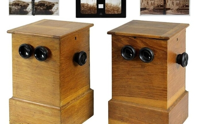 Two stereoscopes - tabletop stereo viewer in the early 20th century, with more than 200 stereo glass pictures, mostly with representations from WW I, very rare in this complexity and design, each case made of oak wood, hinged at the top, back with...