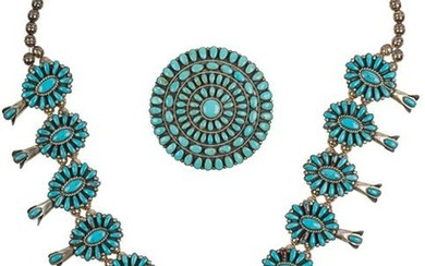 Unknown | Lot of Two-Zuni Necklace & Zuni Cluster Pin