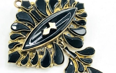 Victorian 9K Gold & Onyx Brooch pendant