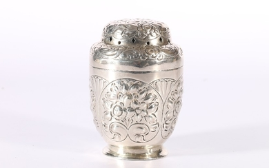 Victorian embossed and repousse silver muffineer or sugar ca...