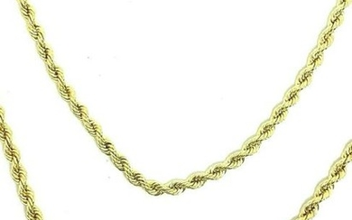 """Vintage 18K Yellow Gold Rope Chain Necklace 48"""""""