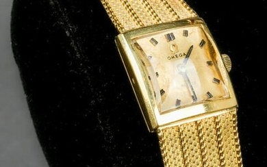 Vintage Omega 18K Yellow Gold Lady's Wrist Watch