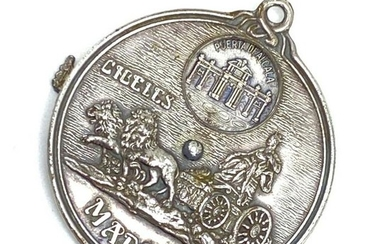 Vintage Souvenir Madrid Spinner Silver Coin Charm