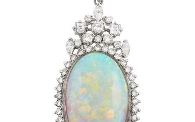 White Gold, Opal and Diamond Pendant-Brooch