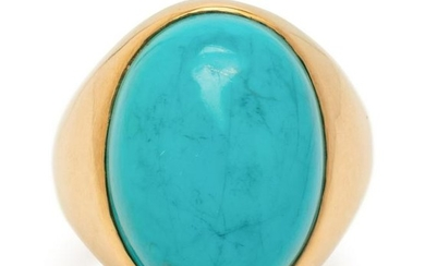 YELLOW GOLD AND TURQUOISE RING