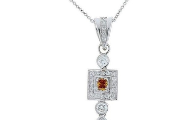0.75 Carat Total Fancy Brown and White Diamond Pendant