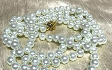 "11mm White Shell Pearls 52"" Rope Necklace, Magnetic"