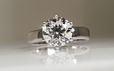 14 kt. White gold - Ring - 2.07 ct Diamond - IGI