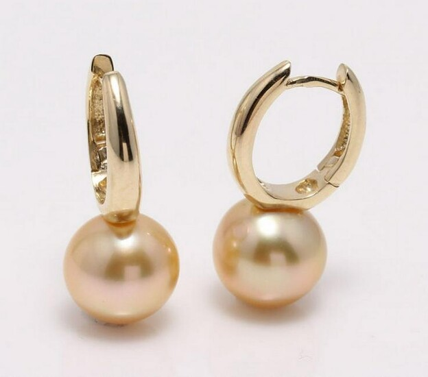 14 kt. Yellow Gold- 10x11mm Golden South Sea Pearls