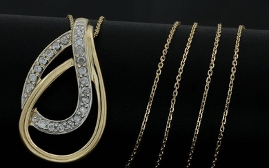 14 kt. Yellow gold - Necklace - 0.25 ct Diamond