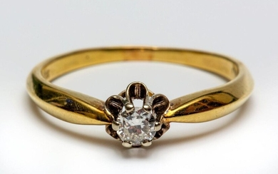 14krt. Gold solitairring, set with a brilliant cut...