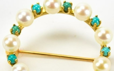 14kt Yellow Gold Cultured Pearl & Turquoise Pin