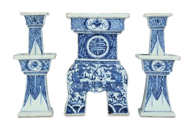 A CHINESE BLUE AND WHITE THREE-PIECE 'DRAGON AND PHOENIX' ALTAR SET.