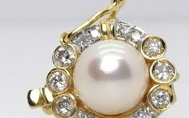 18 kt. Gold - pearl necklace clasp pearl grown in the oyster, akoya - Diamonds