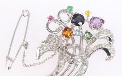 18 kt. Platinum, White gold - Brooch, Cocktail brooch as a bouquet of flowers, Vintage 1950's Retro Fifties - Sapphires, Amethyst, Citrine, Ruby, Peridot, Topaz, Emerald - Diamonds, Total diamond weight 1.90 crt, Natural (untreated)