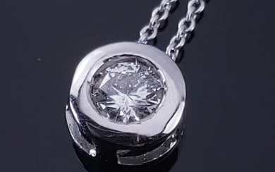 18 kt. White gold - Necklace with pendant - 0.20 ct Diamond
