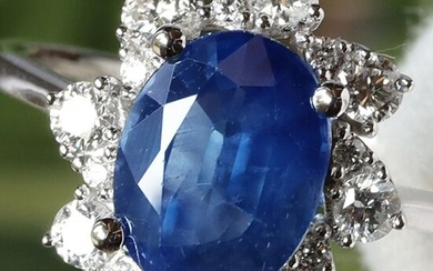 18 kt. White gold - Ring GIA Certified Total 3.07 ct Nice Blue Sapphire - VS Diamonds